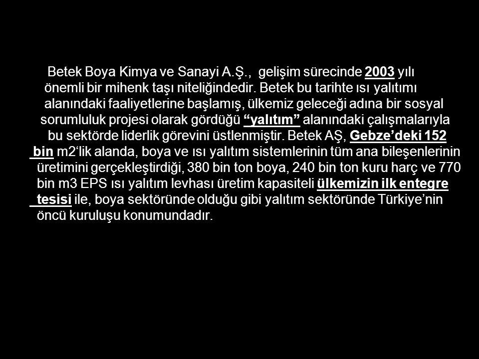 Türkiye'nin, üyeliğine doğru yol aldığı AB'nin büyük önem verdiği çevre koruma ve çevre sağlığı ölçütlerini benimseyen Betek Boya Kimya ve Sanayi A.Ş, bunun ilk adımını 1993 yılında atmış, AB Boya Standartları'nı dikkate almış, üretim ve Ar&Ge teknoloji süreçlerini bu doğrultuda yönetmektedir.