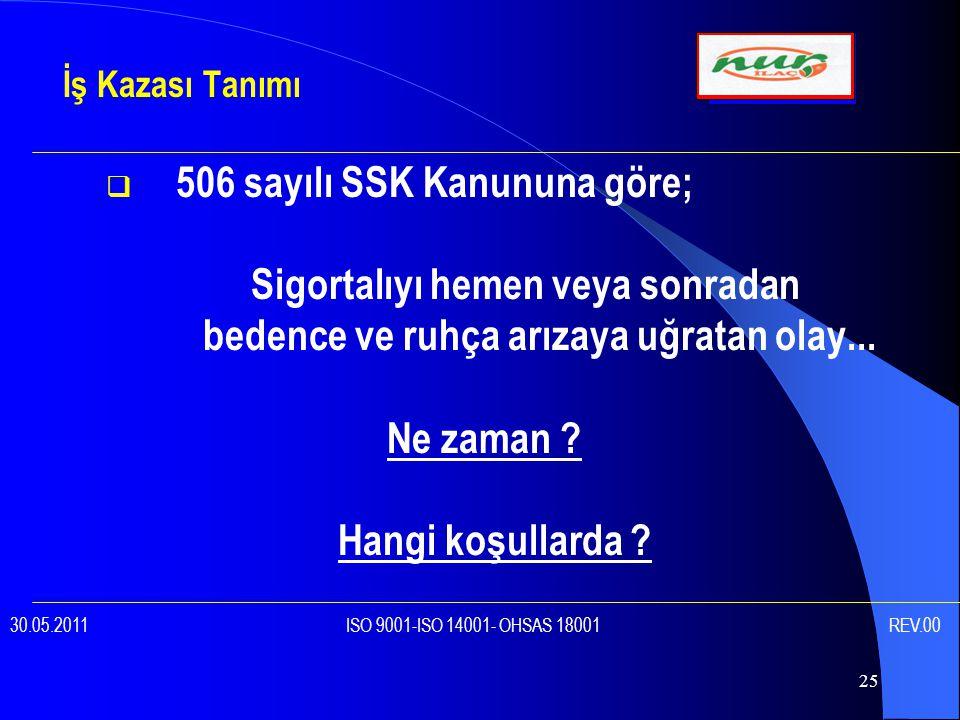 25  506 sayılı SSK Kanununa göre; Sigortalıyı hemen veya sonradan bedence ve ruhça arızaya uğratan olay...
