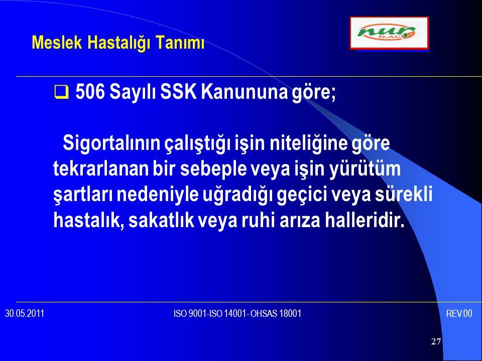 27  506 Sayılı SSK Kanununa göre; Sigortalının çalıştığı işin niteliğine göre tekrarlanan bir sebeple veya işin yürütüm şartları nedeniyle uğradığı geçici veya sürekli hastalık, sakatlık veya ruhi arıza halleridir.