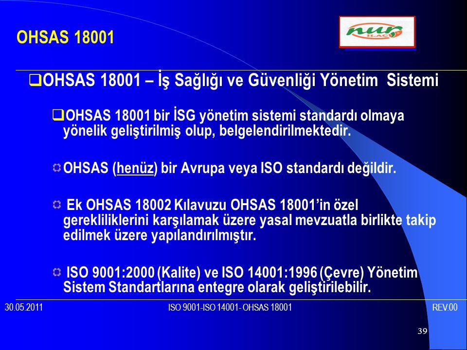 39  OHSAS 18001 – İş Sağlığı ve Güvenliği Yönetim Sistemi  OHSAS 18001 bir İSG yönetim sistemi standardı olmaya yönelik geliştirilmiş olup, belgelendirilmektedir.