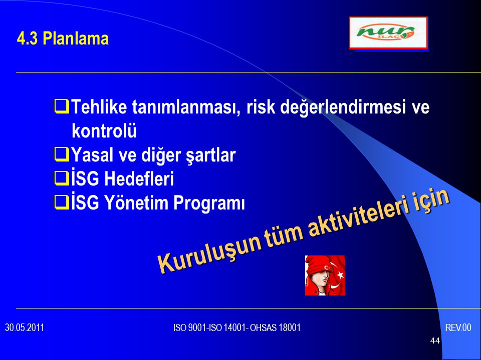 44  Tehlike tanımlanması, risk değerlendirmesi ve kontrolü  Yasal ve diğer şartlar  İSG Hedefleri  İSG Yönetim Programı 4.3 Planlama 30.05.2011 ISO 9001-ISO 14001- OHSAS 18001 REV.00 Kuruluşun tüm aktiviteleri için