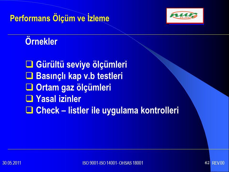 62 Örnekler  Gürültü seviye ölçümleri  Basınçlı kap v.b testleri  Ortam gaz ölçümleri  Yasal izinler  Check – listler ile uygulama kontrolleri Performans Ölçüm ve İzleme 30.05.2011 ISO 9001-ISO 14001- OHSAS 18001 REV.00