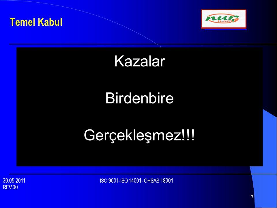 7 Temel Kabul 30.05.2011 ISO 9001-ISO 14001- OHSAS 18001 REV.00 KazalarBirdenbireGerçekleşmez!!!