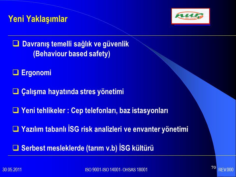 70  Davranış temelli sağlık ve güvenlik (Behaviour based safety)  Ergonomi  Çalışma hayatında stres yönetimi  Yeni tehlikeler : Cep telefonları, baz istasyonları  Yazılım tabanlı İSG risk analizleri ve envanter yönetimi  Serbest mesleklerde (tarım v.b) İSG kültürü Yeni Yaklaşımlar 30.05.2011 ISO 9001-ISO 14001- OHSAS 18001 REV.000