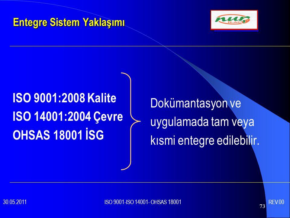73 Entegre Sistem Yaklaşımı ISO 9001:2008 Kalite ISO 14001:2004 Çevre OHSAS 18001 İSG Dokümantasyon ve uygulamada tam veya kısmi entegre edilebilir.