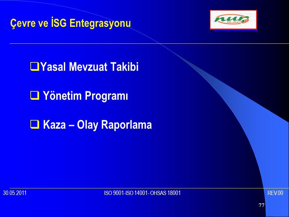 77  Yasal Mevzuat Takibi  Yönetim Programı  Kaza – Olay Raporlama Çevre ve İSG Entegrasyonu 30.05.2011 ISO 9001-ISO 14001- OHSAS 18001 REV.00