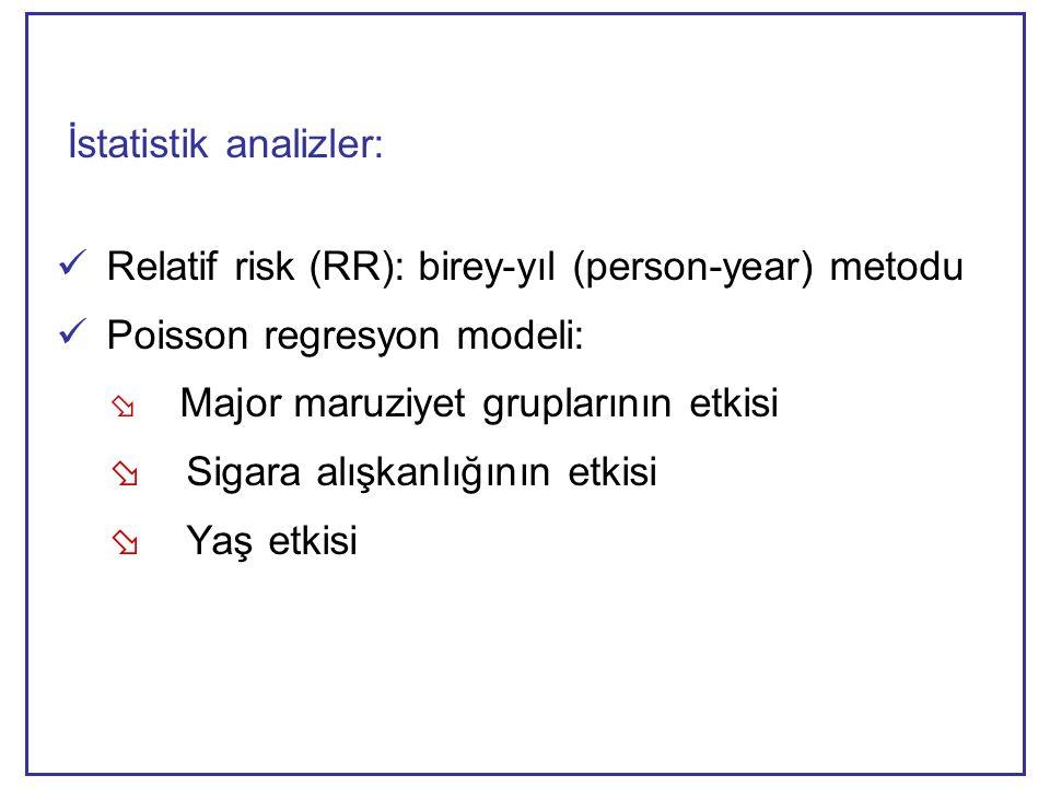 İstatistik analizler:  Relatif risk (RR): birey-yıl (person-year) metodu  Poisson regresyon modeli:  Major maruziyet gruplarının etkisi  Sigara alışkanlığının etkisi  Yaş etkisi