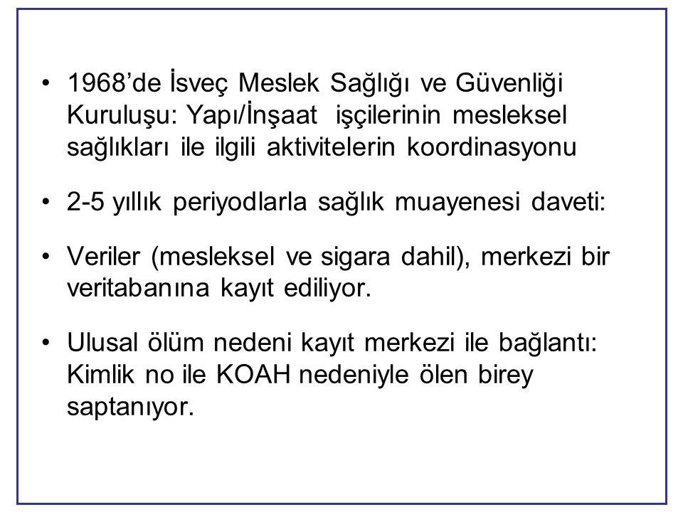 •1968'de İsveç Meslek Sağlığı ve Güvenliği Kuruluşu: Yapı/İnşaat işçilerinin mesleksel sağlıkları ile ilgili aktivitelerin koordinasyonu •2-5 yıllık periyodlarla sağlık muayenesi daveti: •Veriler (mesleksel ve sigara dahil), merkezi bir veritabanına kayıt ediliyor.