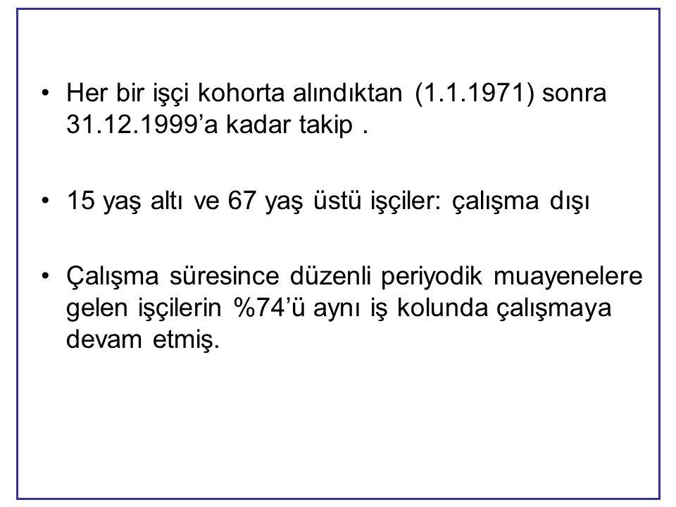 •Her bir işçi kohorta alındıktan (1.1.1971) sonra 31.12.1999'a kadar takip.