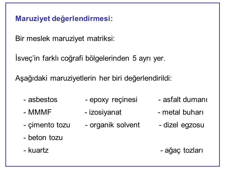 Maruziyet değerlendirmesi: Bir meslek maruziyet matriksi: İsveç'in farklı coğrafi bölgelerinden 5 ayrı yer.