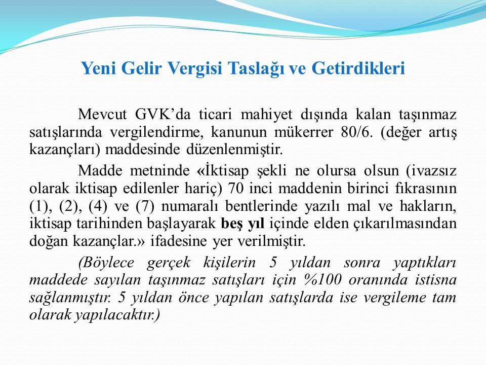 Yeni Gelir Vergisi Taslağı ve Getirdikleri Mevcut GVK'da ticari mahiyet dışında kalan taşınmaz satışlarında vergilendirme, kanunun mükerrer 80/6. (değ