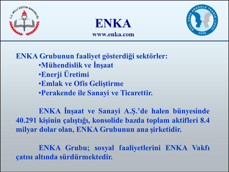 ENKA www.enka.com ENKA Grubunun faaliyet gösterdiği sektörler: •Mühendislik ve İnşaat •Enerji Üretimi •Emlak ve Ofis Geliştirme •Perakende ile Sanayi