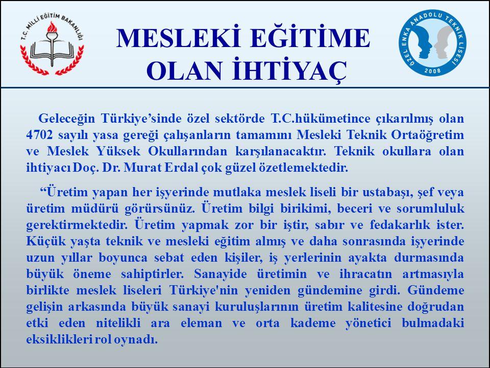 MESLEKİ EĞİTİME OLAN İHTİYAÇ Geleceğin Türkiye'sinde özel sektörde T.C.hükümetince çıkarılmış olan 4702 sayılı yasa gereği çalışanların tamamını Mesle
