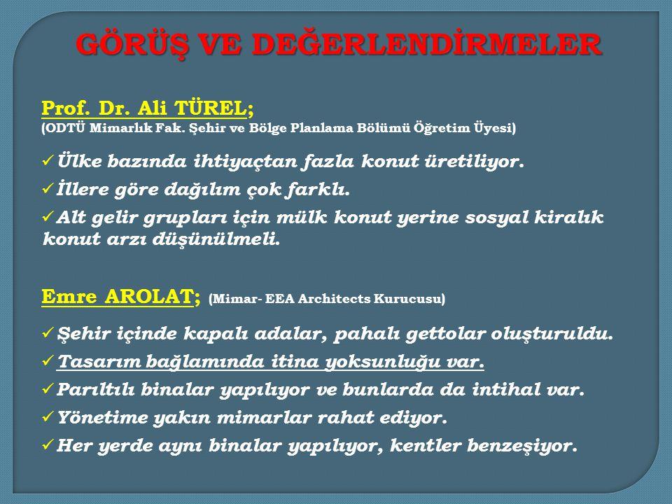 Prof.Dr. Ali TÜREL; (ODTÜ Mimarlık Fak.