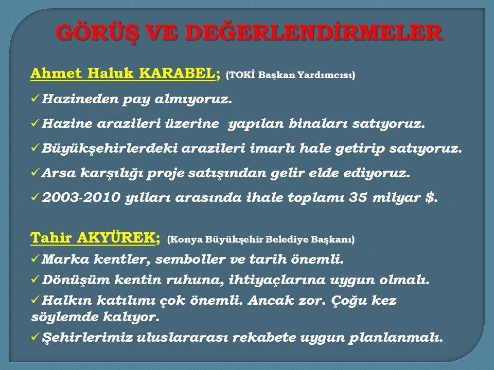 Ahmet Haluk KARABEL; (TOKİ Başkan Yardımcısı)  Hazineden pay almıyoruz.