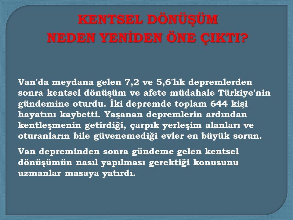 Van da meydana gelen 7,2 ve 5,6 lık depremlerden sonra kentsel dönüşüm ve afete müdahale Türkiye nin gündemine oturdu.