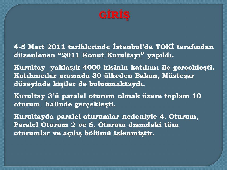4-5 Mart 2011 tarihlerinde İstanbul'da TOKİ tarafından düzenlenen 2011 Konut Kurultayı yapıldı.