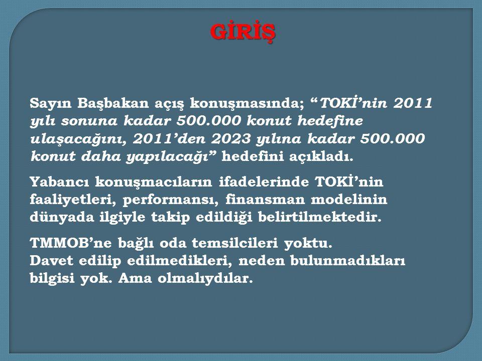 Sayın Başbakan açış konuşmasında; TOKİ'nin 2011 yılı sonuna kadar 500.000 konut hedefine ulaşacağını, 2011'den 2023 yılına kadar 500.000 konut daha yapılacağı hedefini açıkladı.