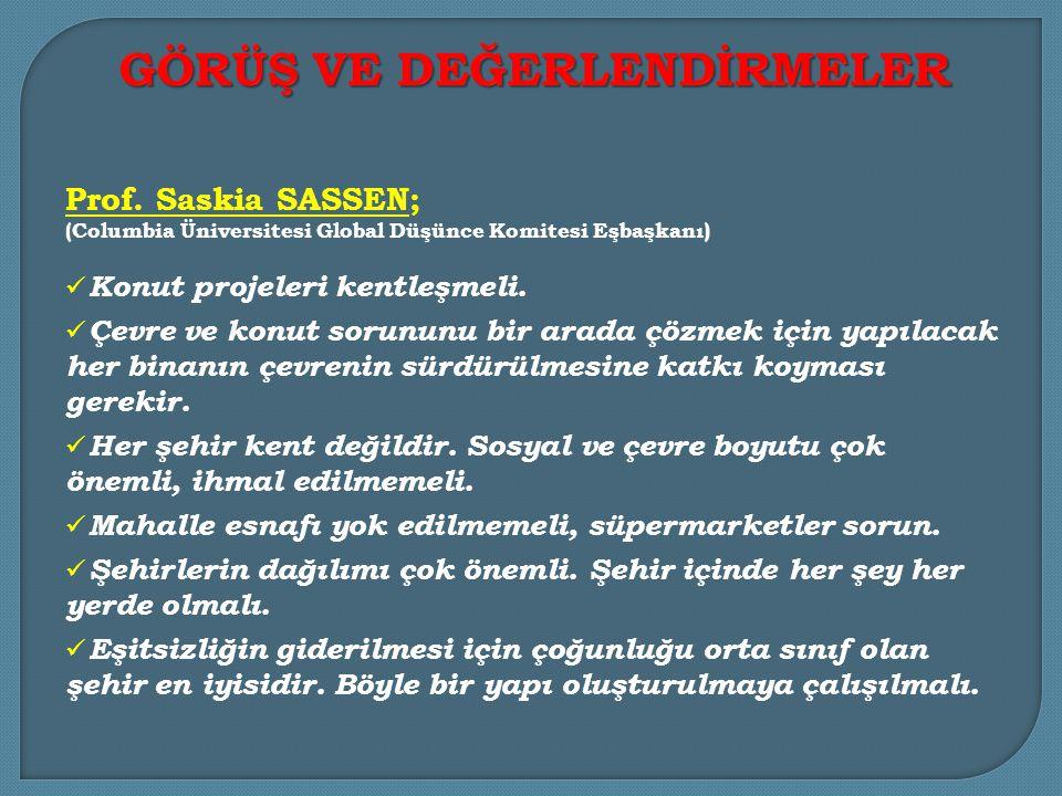 Prof.Dr.Murat H. GÜVENÇ ve David A. SMİTH göç ve konut ilişkisine vurgu yaptılar.