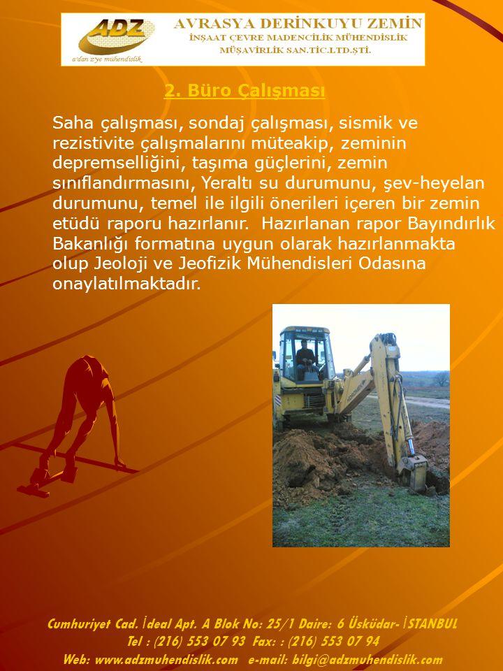 Cumhuriyet Cad. İ deal Apt. A Blok No: 25/1 Daire: 6 Üsküdar- İ STANBUL Tel : (216) 553 07 93 Fax: : (216) 553 07 94 Web: www.adzmuhendislik.com e-mai