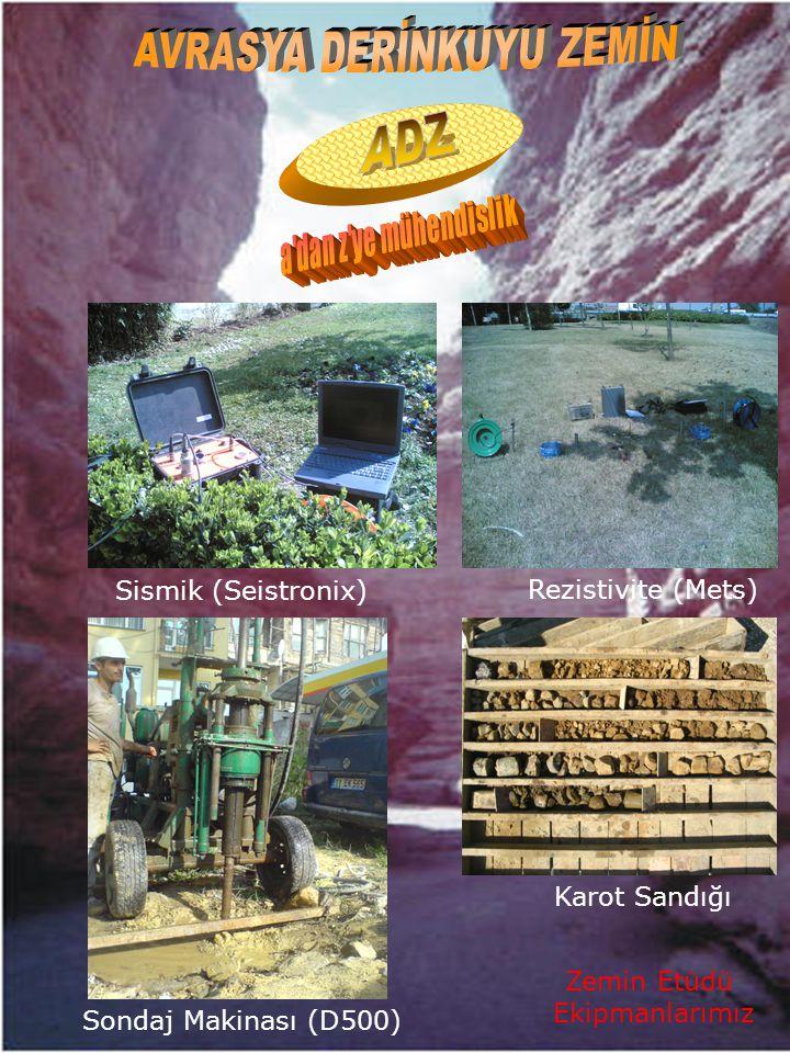 Zemin Etüdü Ekipmanlarımız Sismik (Seistronix) Rezistivite (Mets) Sondaj Makinası (D500) Karot Sandığı