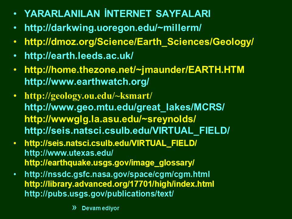 •YARARLANILAN İNTERNET SAYFALARI •http://darkwing.uoregon.edu/~millerm/ •http://dmoz.org/Science/Earth_Sciences/Geology/ •http://earth.leeds.ac.uk/ •http://home.thezone.net/~jmaunder/EARTH.HTM http://www.earthwatch.org/ •http://geology.ou.edu/~ksmart/ http://www.geo.mtu.edu/great_lakes/MCRS/ http://wwwglg.la.asu.edu/~sreynolds/ http://seis.natsci.csulb.edu/VIRTUAL_FIELD/ •http://seis.natsci.csulb.edu/VIRTUAL_FIELD/ http://www.utexas.edu/ http://earthquake.usgs.gov/image_glossary/ •http://nssdc.gsfc.nasa.gov/space/cgm/cgm.html http://library.advanced.org/17701/high/index.html http://pubs.usgs.gov/publications/text/ » Devam ediyor