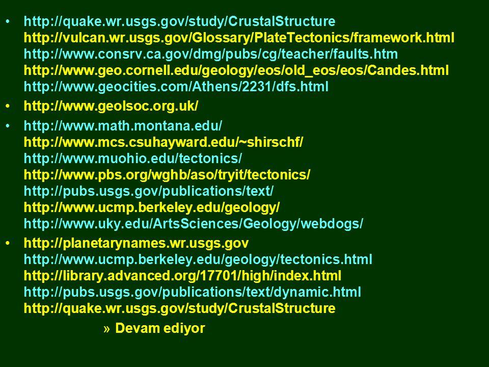 •http://quake.wr.usgs.gov/study/CrustalStructure http://vulcan.wr.usgs.gov/Glossary/PlateTectonics/framework.html http://www.consrv.ca.gov/dmg/pubs/cg