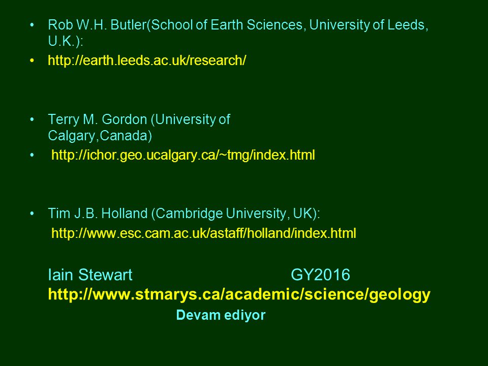 •Rob W.H. Butler(School of Earth Sciences, University of Leeds, U.K.): •http://earth.leeds.ac.uk/research/ •Terry M. Gordon (University of Calgary,Can