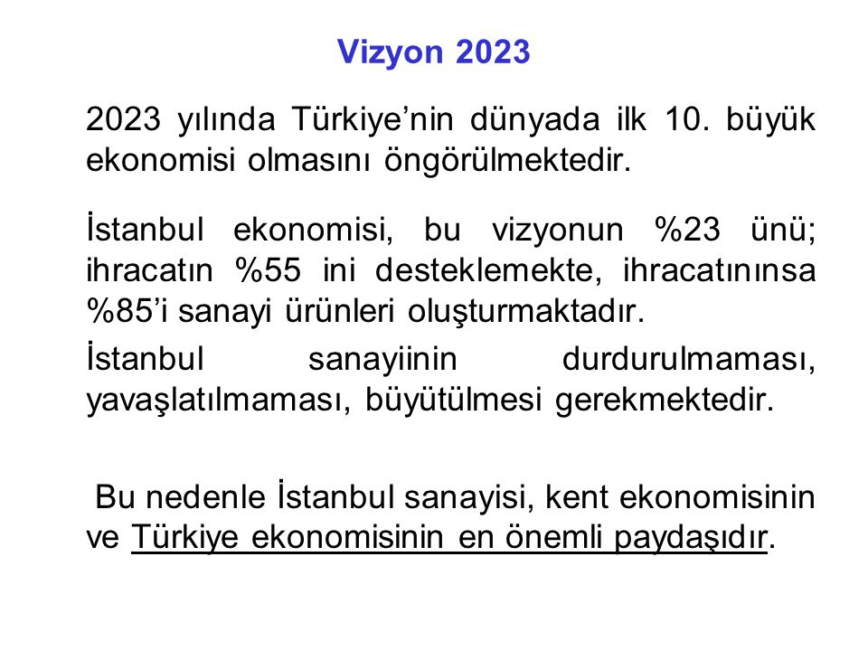 Vizyon 2023 2023 yılında Türkiye'nin dünyada ilk 10.