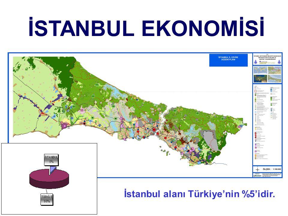 İstanbul alanı Türkiye'nin %5'idir. İSTANBUL EKONOMİSİ