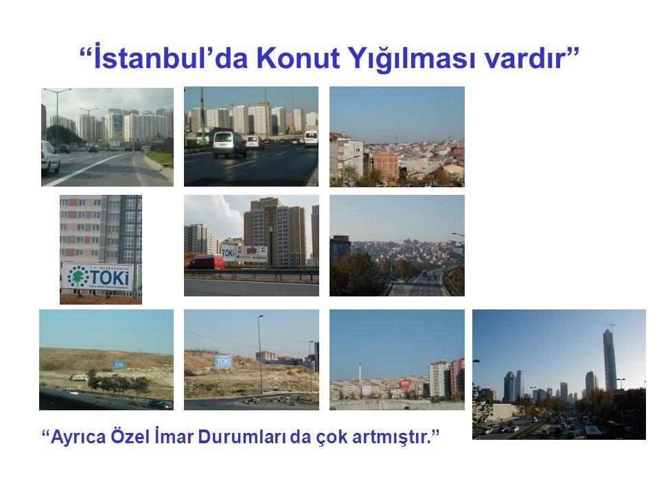 İstanbul'da Konut Yığılması vardır Ayrıca Özel İmar Durumları da çok artmıştır.