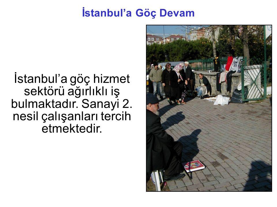 İstanbul'a göç hizmet sektörü ağırlıklı iş bulmaktadır.