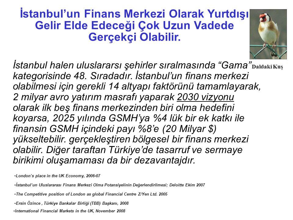 İstanbul'un Finans Merkezi Olarak Yurtdışı Gelir Elde Edeceği Çok Uzun Vadede Gerçekçi Olabilir.