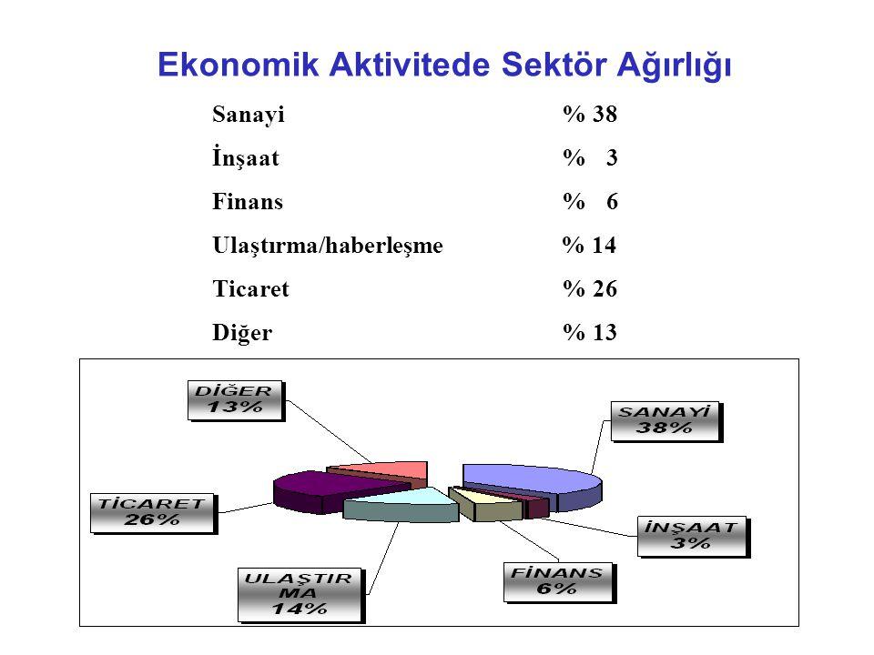Ekonomik Aktivitede Sektör Ağırlığı Sanayi% 38 İnşaat% 3 Finans% 6 Ulaştırma/haberleşme % 14 Ticaret% 26 Diğer% 13