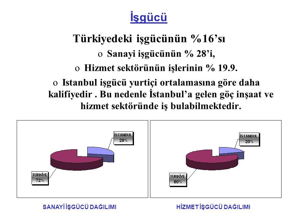 İşgücü Türkiyedeki işgücünün %16'sı oSanayi işgücünün % 28'i, oHizmet sektörünün işlerinin % 19.9.