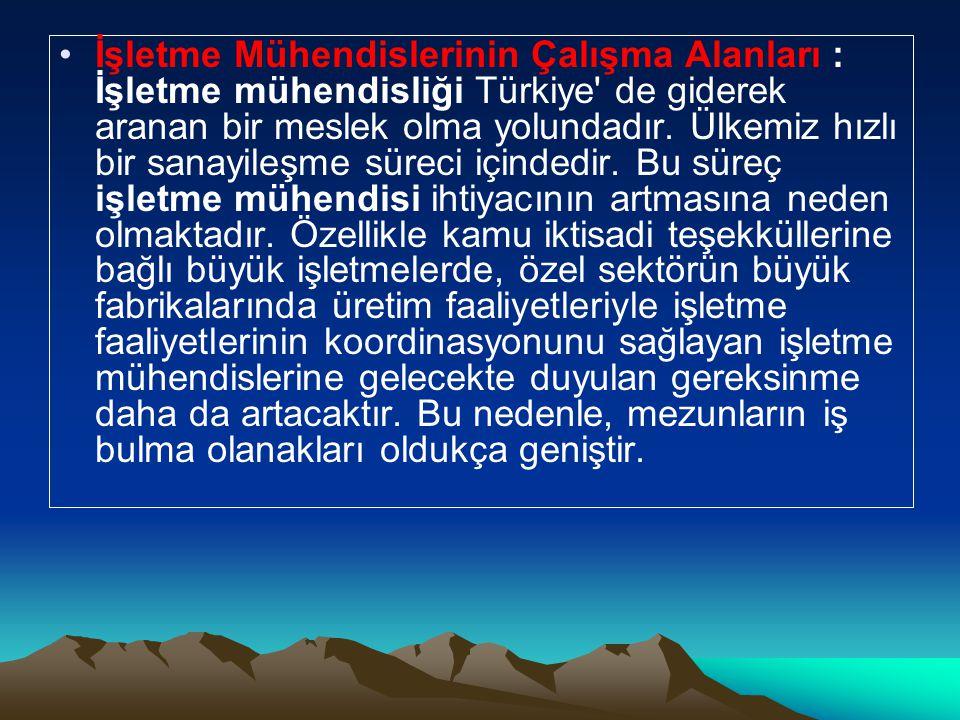 •İşletme Mühendislerinin Çalışma Alanları : İşletme mühendisliği Türkiye de giderek aranan bir meslek olma yolundadır.