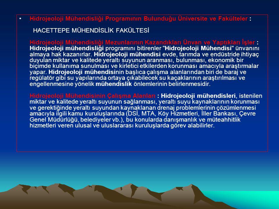 •Hidrojeoloji Mühendisliği Programının Bulunduğu Üniversite ve Fakülteler : HACETTEPE MÜHENDİSLİK FAKÜLTESİ Hidrojeoloji Mühendisliği Mezunlarının Kazandıkları Ünvan ve Yaptıkları İşler : Hidrojeoloji mühendisliği programını bitirenler Hidrojeoloji Mühendisi ünvanını almaya hak kazanırlar.