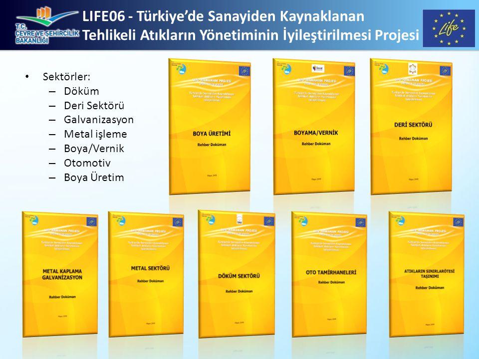 LIFE06 - Türkiye'de Sanayiden Kaynaklanan Tehlikeli Atıkların Yönetiminin İyileştirilmesi Projesi • Sektörler: – Döküm – Deri Sektörü – Galvanizasyon – Metal işleme – Boya/Vernik – Otomotiv – Boya Üretim