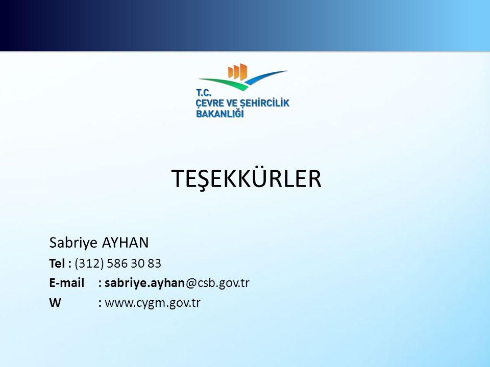 Sabriye AYHAN Tel : (312) 586 30 83 E-mail: sabriye.ayhan@csb.gov.tr W: www.cygm.gov.tr TEŞEKKÜRLER