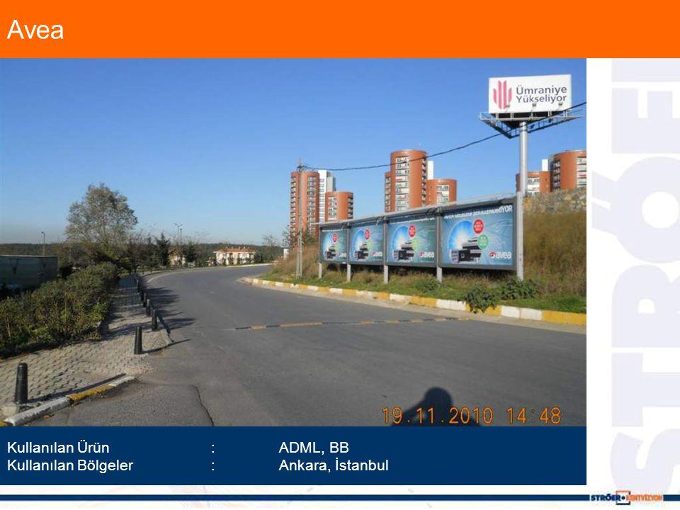 Avea Kullanılan Ürün :ADML, BB Kullanılan Bölgeler :Ankara, İstanbul
