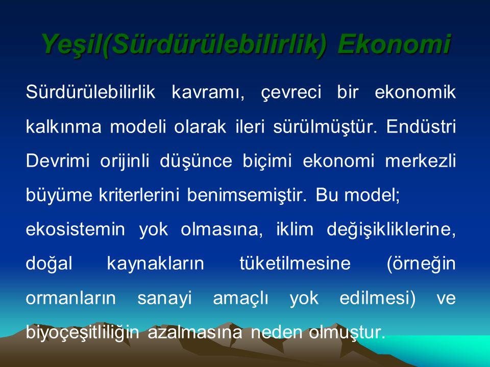 Yeşil(Sürdürülebilirlik) Ekonomi Sürdürülebilirlik kavramı, çevreci bir ekonomik kalkınma modeli olarak ileri sürülmüştür.