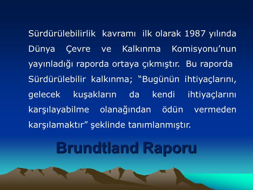 Brundtland Raporu Sürdürülebilirlik kavramı ilk olarak 1987 yılında Dünya Çevre ve Kalkınma Komisyonu'nun yayınladığı raporda ortaya çıkmıştır.