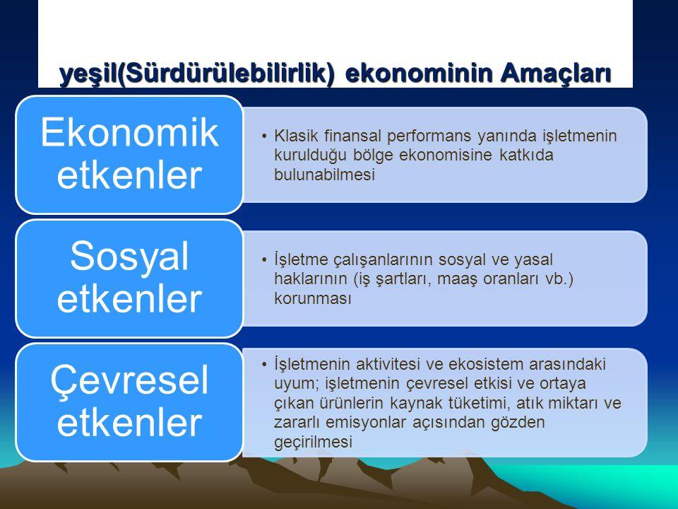 yeşil(Sürdürülebilirlik) ekonominin Amaçları •Klasik finansal performans yanında işletmenin kurulduğu bölge ekonomisine katkıda bulunabilmesi Ekonomik etkenler •İşletme çalışanlarının sosyal ve yasal haklarının (iş şartları, maaş oranları vb.) korunması Sosyal etkenler •İşletmenin aktivitesi ve ekosistem arasındaki uyum; işletmenin çevresel etkisi ve ortaya çıkan ürünlerin kaynak tüketimi, atık miktarı ve zararlı emisyonlar açısından gözden geçirilmesi Çevresel etkenler