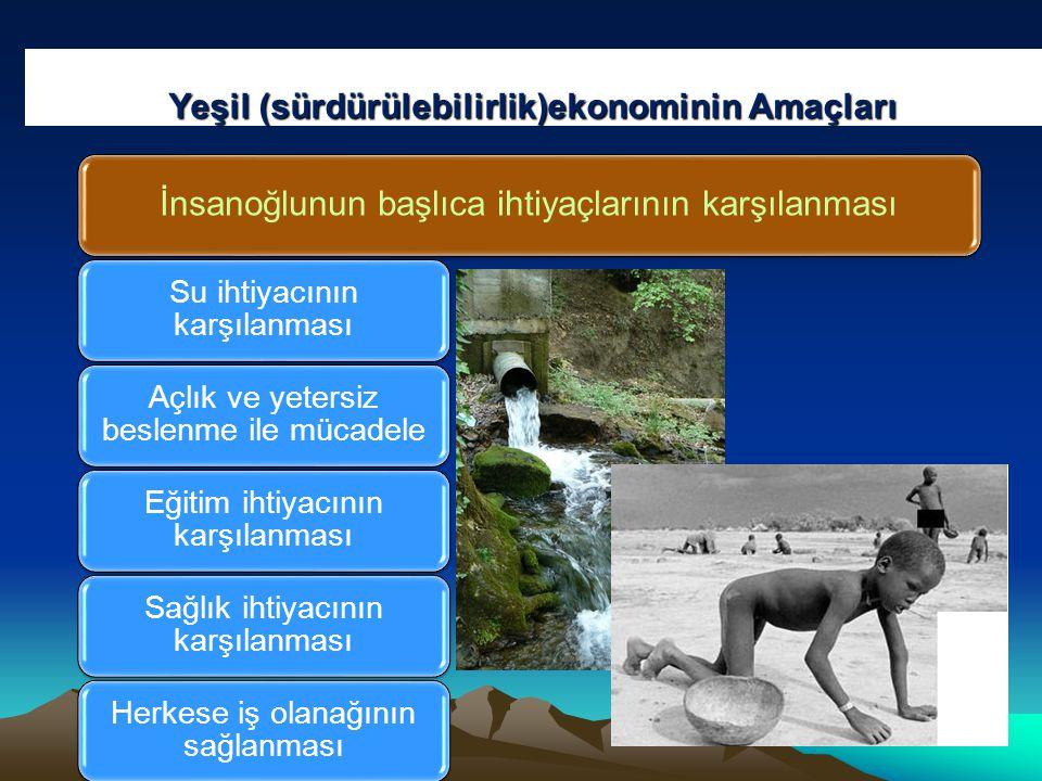Yeşil (sürdürülebilirlik)ekonominin Amaçları İnsanoğlunun başlıca ihtiyaçlarının karşılanması Su ihtiyacının karşılanması Açlık ve yetersiz beslenme ile mücadele Eğitim ihtiyacının karşılanması Sağlık ihtiyacının karşılanması Herkese iş olanağının sağlanması