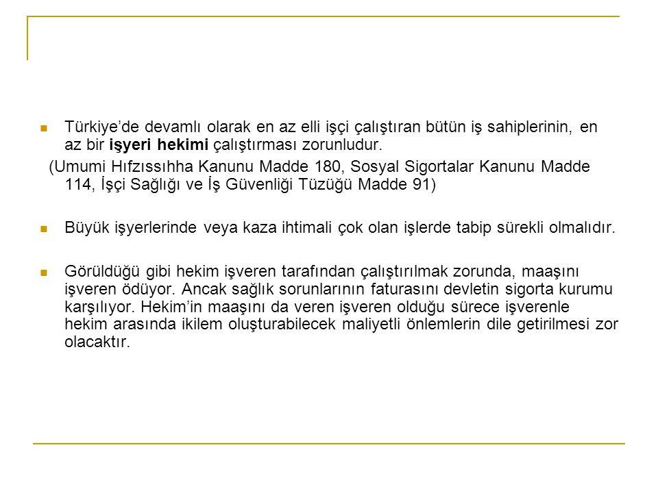  Türkiye'de devamlı olarak en az elli işçi çalıştıran bütün iş sahiplerinin, en az bir işyeri hekimi çalıştırması zorunludur. (Umumi Hıfzıssıhha Kanu