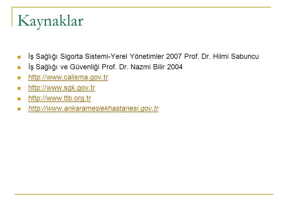 Kaynaklar  İş Sağlığı Sigorta Sistemi-Yerel Yönetimler 2007 Prof. Dr. Hilmi Sabuncu  İş Sağlığı ve Güvenliği Prof. Dr. Nazmi Bilir 2004  http://www