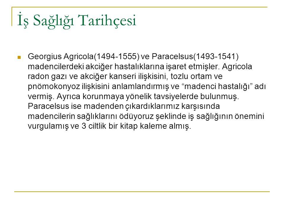 İş Sağlığı Tarihçesi  Georgius Agricola(1494-1555) ve Paracelsus(1493-1541) madencilerdeki akciğer hastalıklarına işaret etmişler. Agricola radon gaz