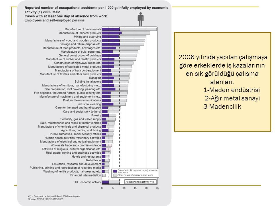 2006 yılında yapılan çalışmaya göre erkeklerde iş kazalarının en sık görüldüğü çalışma alanları: 1-Maden endüstrisi 2-Ağır metal sanayi 3-Madencilik