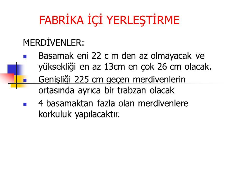 FABRİKA İÇİ YERLEŞTİRME MERDİVENLER:  Basamak eni 22 c m den az olmayacak ve yüksekliği en az 13cm en çok 26 cm olacak.