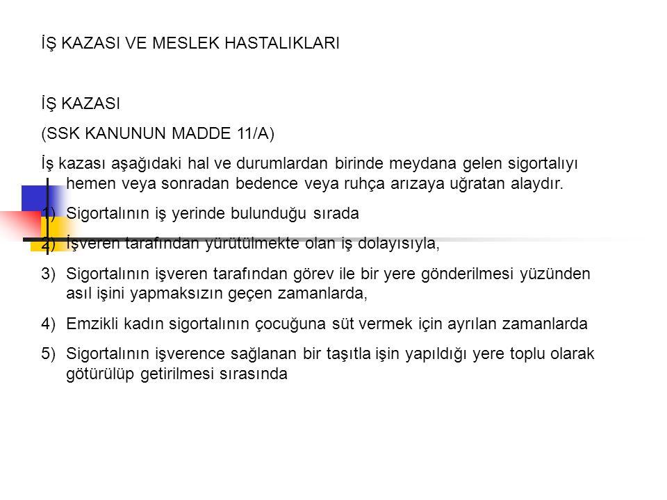 İŞ KAZASI VE MESLEK HASTALIKLARI İŞ KAZASI (SSK KANUNUN MADDE 11/A) İş kazası aşağıdaki hal ve durumlardan birinde meydana gelen sigortalıyı hemen vey